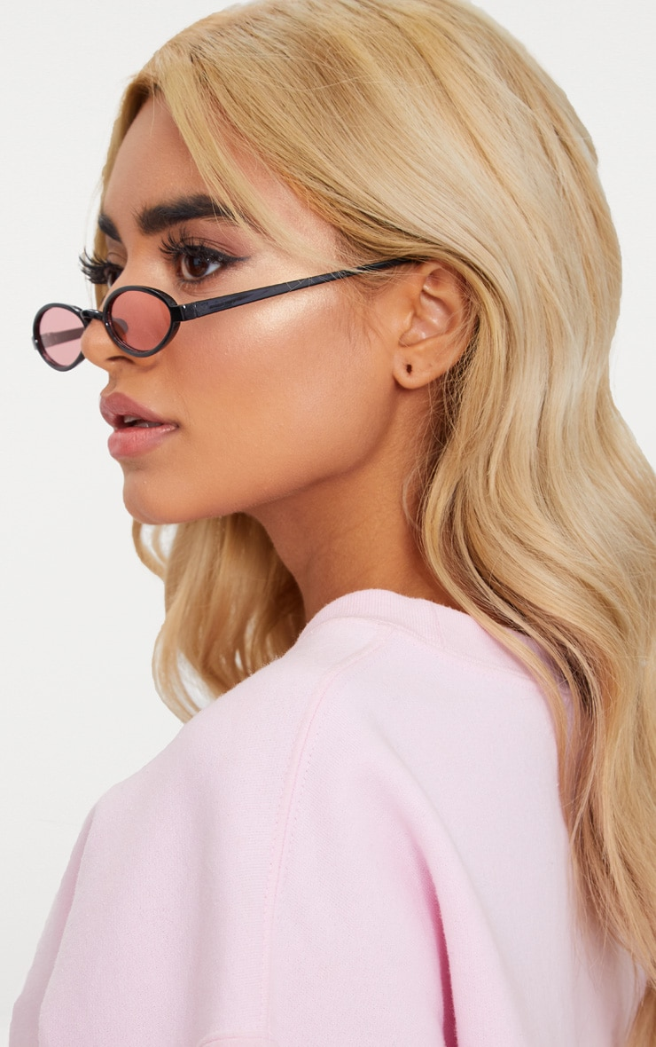Pink Lens Small Oval Sunglasses 2