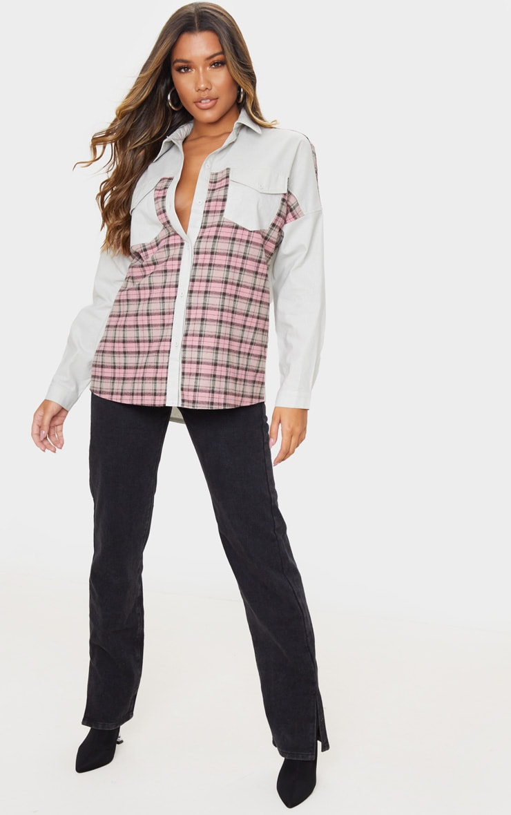 Grey Check Contrast Oversized Shirt 3