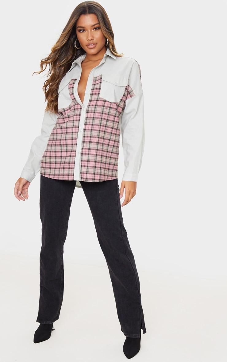 Chemise oversize grise à partie carreaux contrastante 3