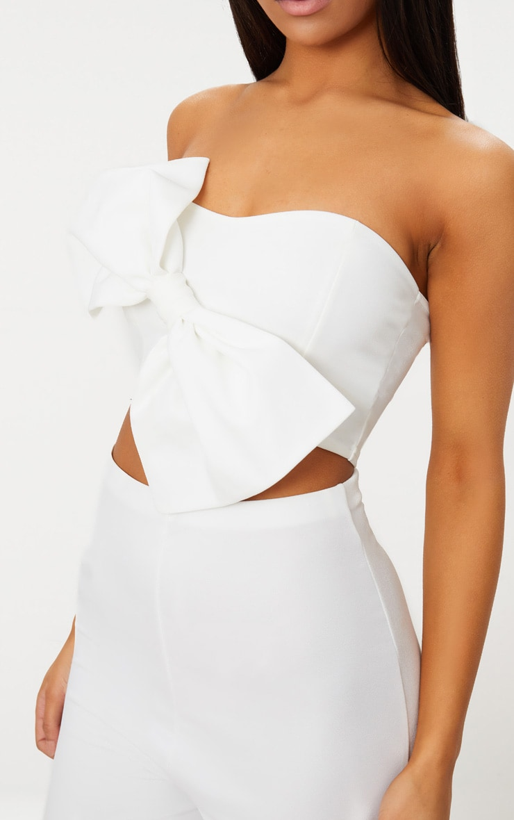 White Bow Front Bandeau Crop Top 5