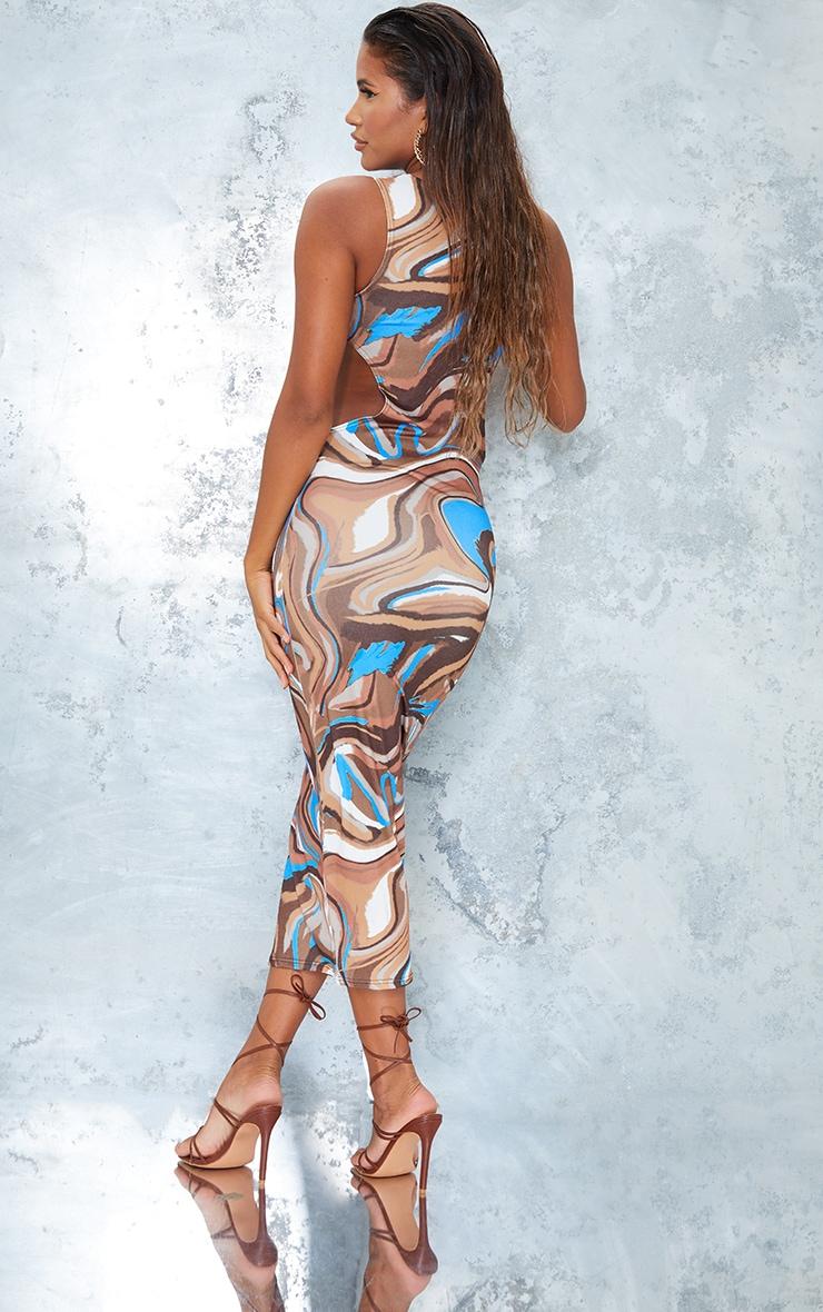 Brown Marble Print Slinky Waist Cut Out Sleeveless Midaxi Dress 2