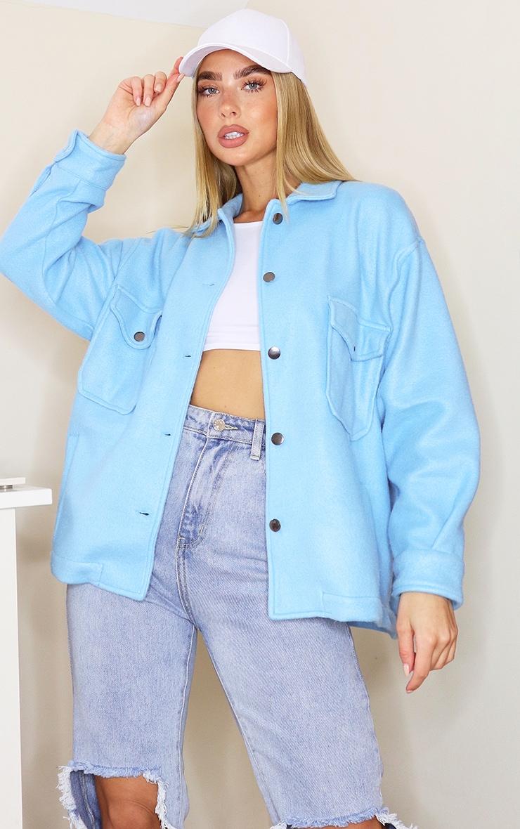 Blue Pocket Front Shacket 1