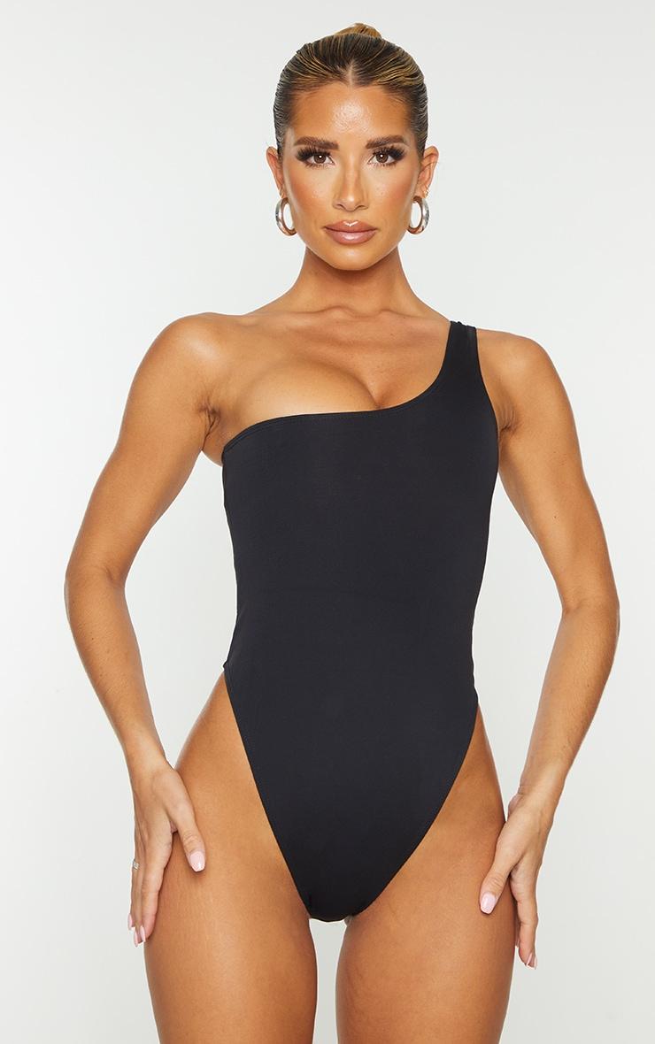 Black One Shoulder Scuba Swimsuit 1