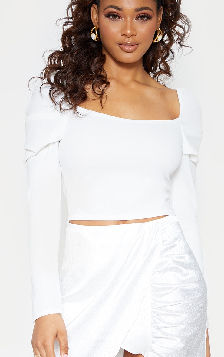 Tall White Square Neck Long Sleeve Crop Top  5