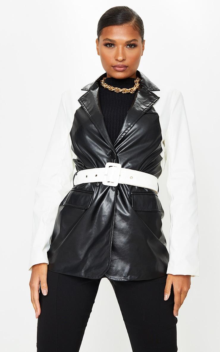Monochrome PU Contrast Belted Blazer 1