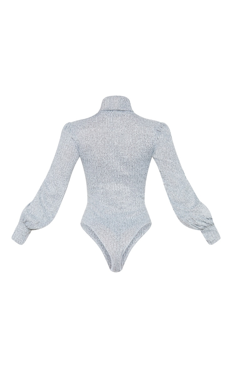 Petite Grey Rib Roll Neck Puff Sleeve Bodysuit 4