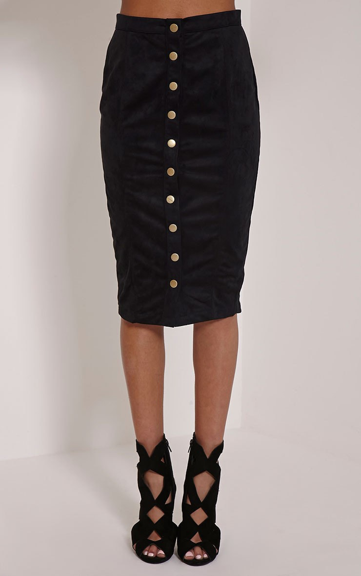 Meemee Black Button Front Suede Midi Skirt 2