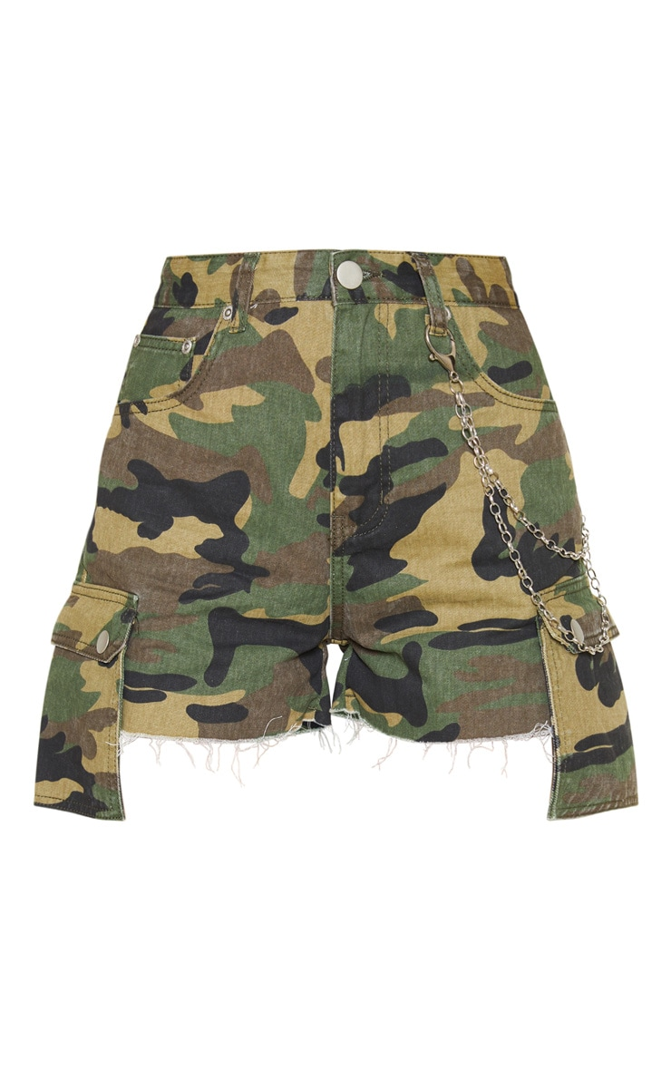 Camo Cargo Pocket Denim Shorts  3