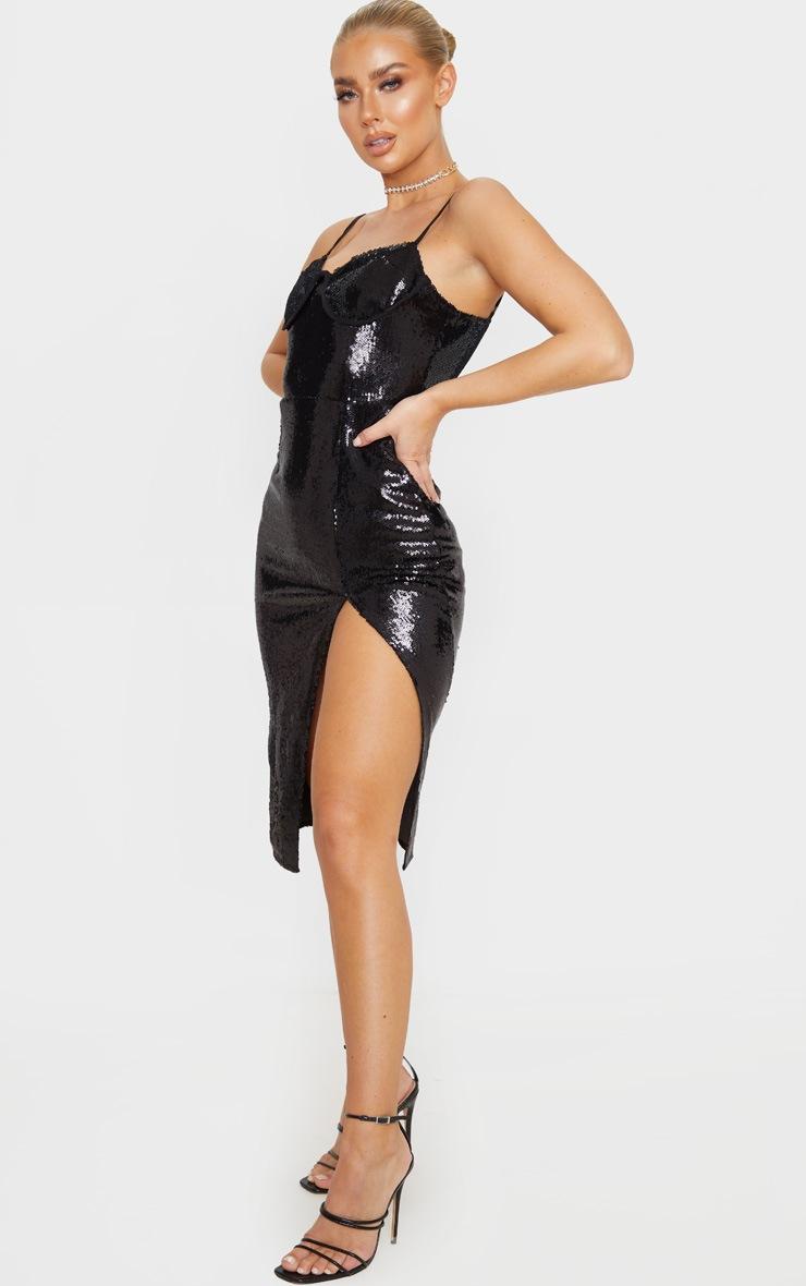 Black Sequin Corset Detail Strappy Midi Dress 4