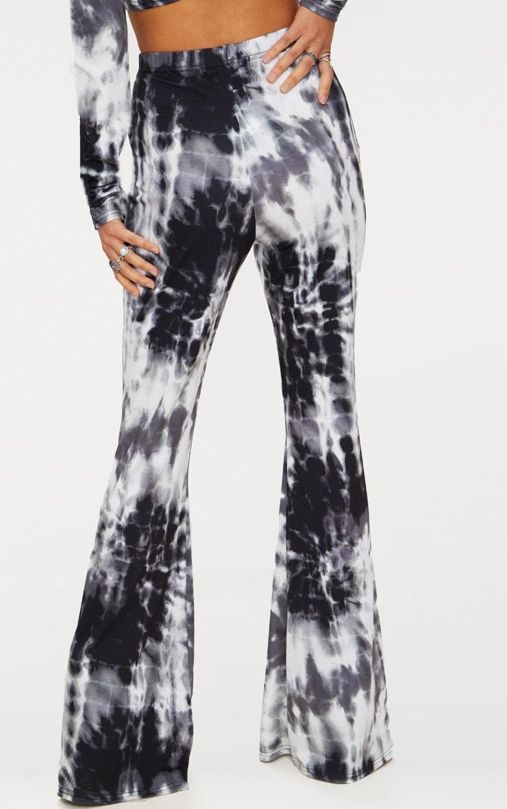 Black Tie Dye Flared Trousers 4