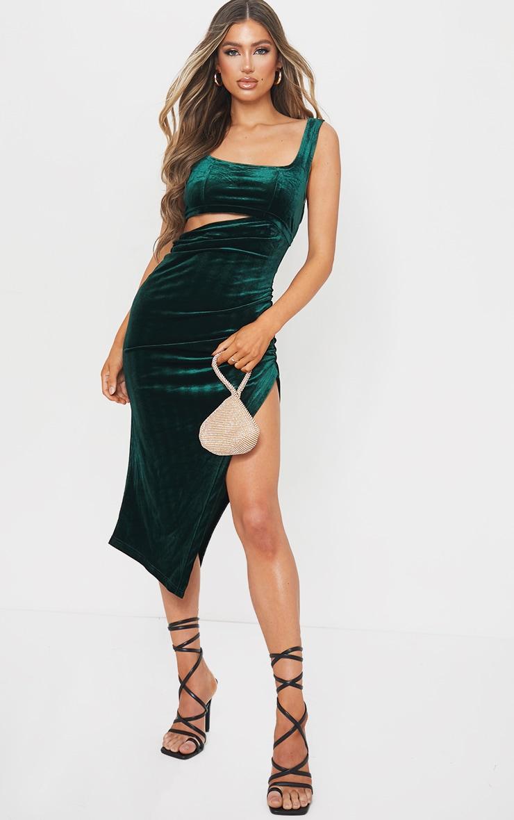 Emerald Green Velvet Sleeveless Cut Out Midi Dress 1