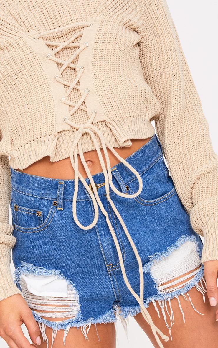 Stone Corset Crop Knit Jumper 5