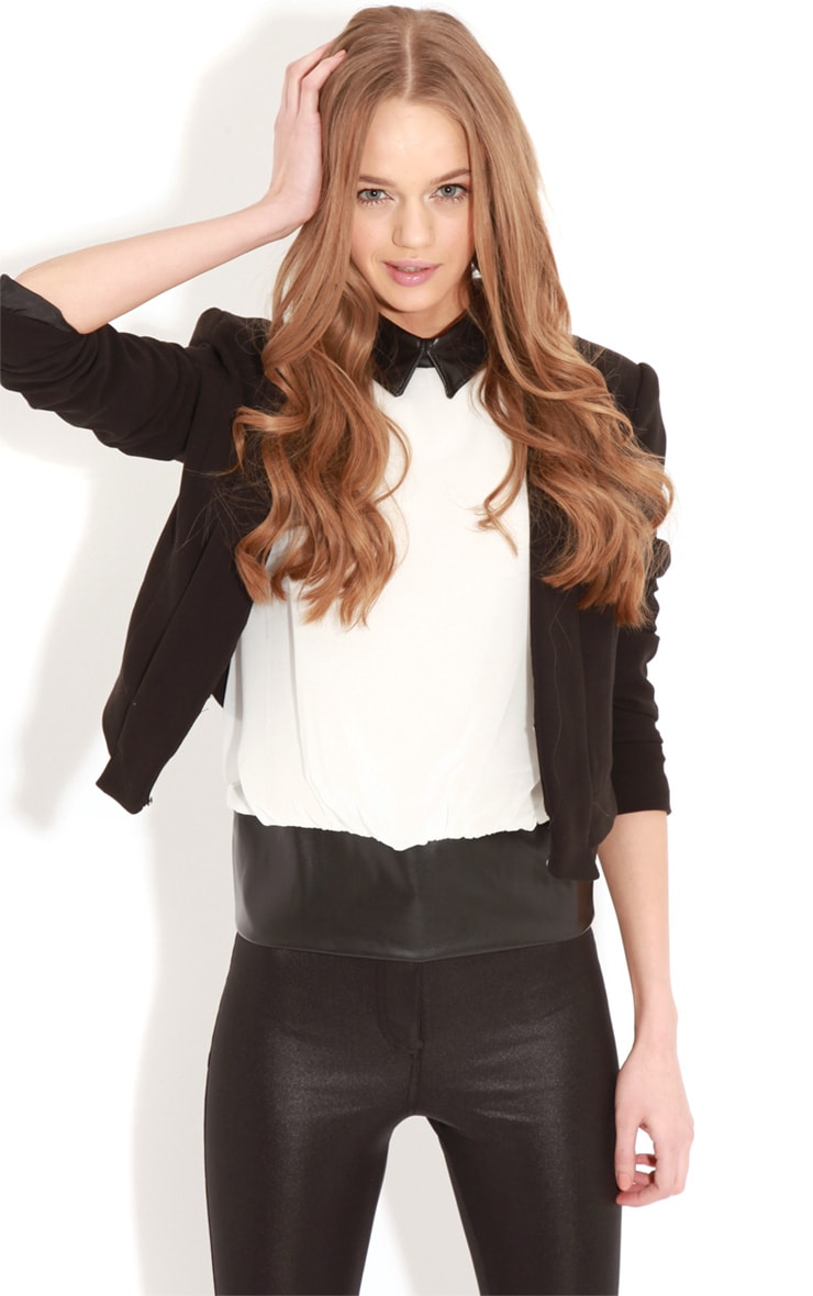 Eden White Chiffon Blouse With Faux Leather Collar 4