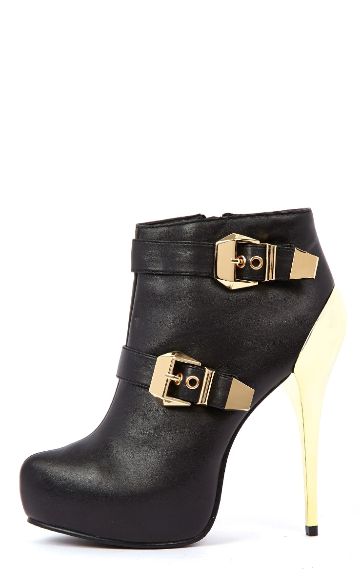 Brooklyn Black PU Ankle Boots With Gold Metallic Buckles &  1