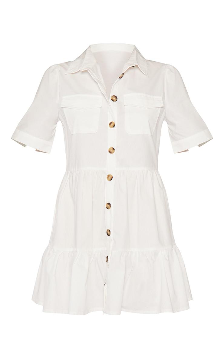 White Cotton Tiered Drop Hem Button Down Smock Dress 5