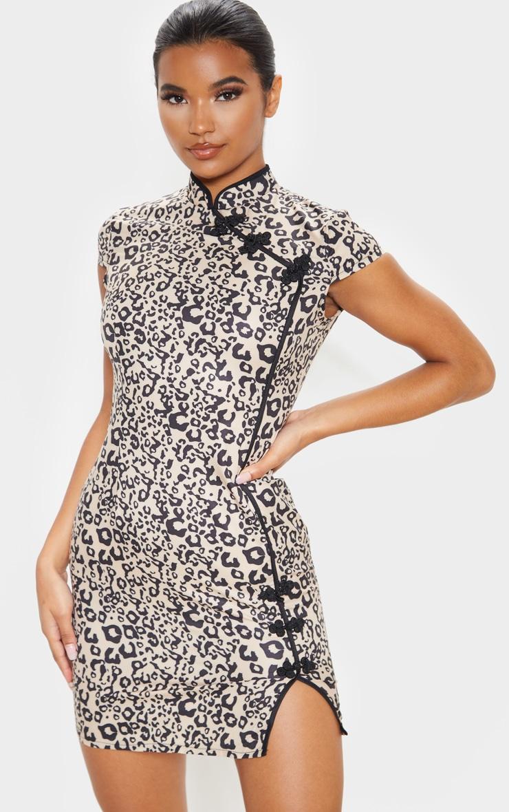 Brown Leopard Oriental Bodycon Dress 1