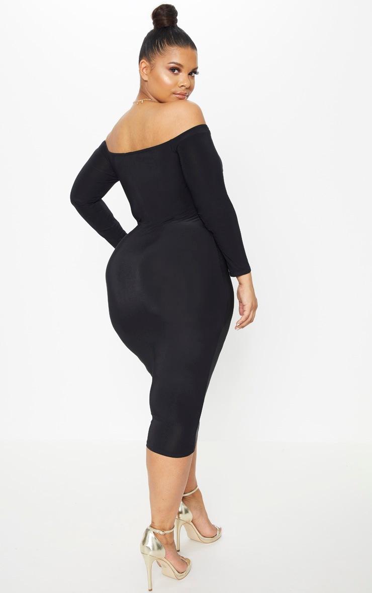 Plus Black Slinky Twist Bardot Midi Dress 2
