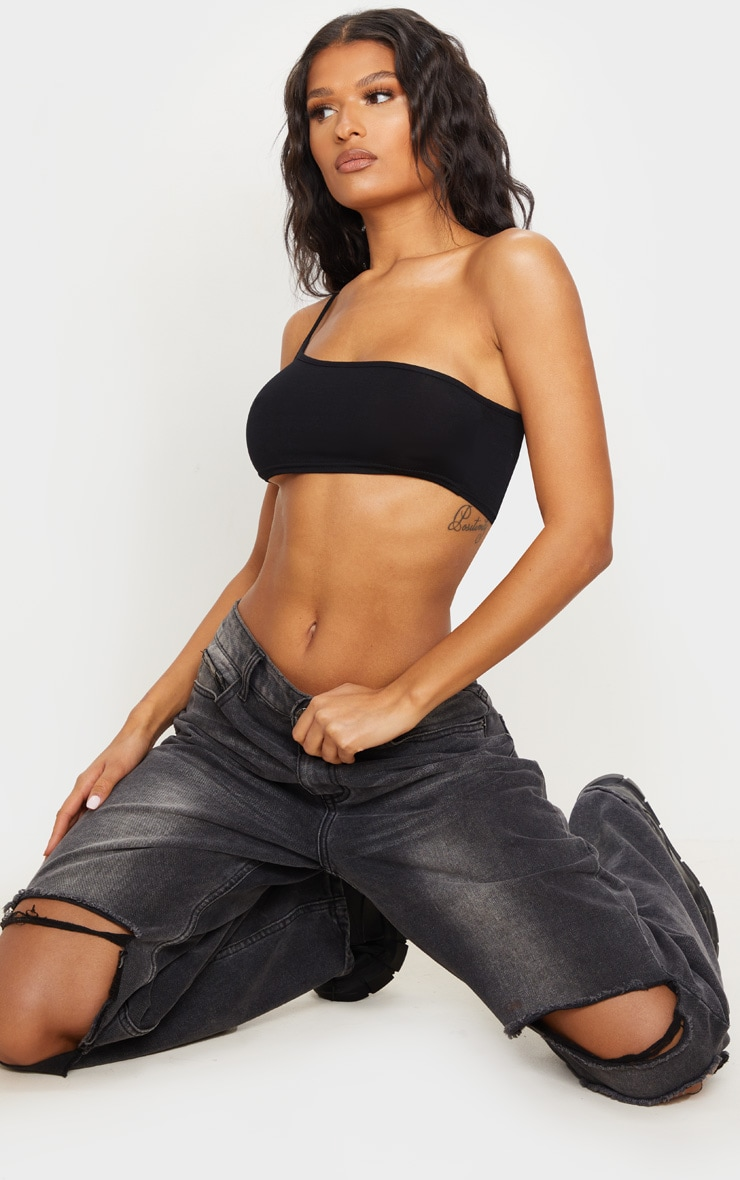 Basic Black One Shoulder Strappy Crop Top 1
