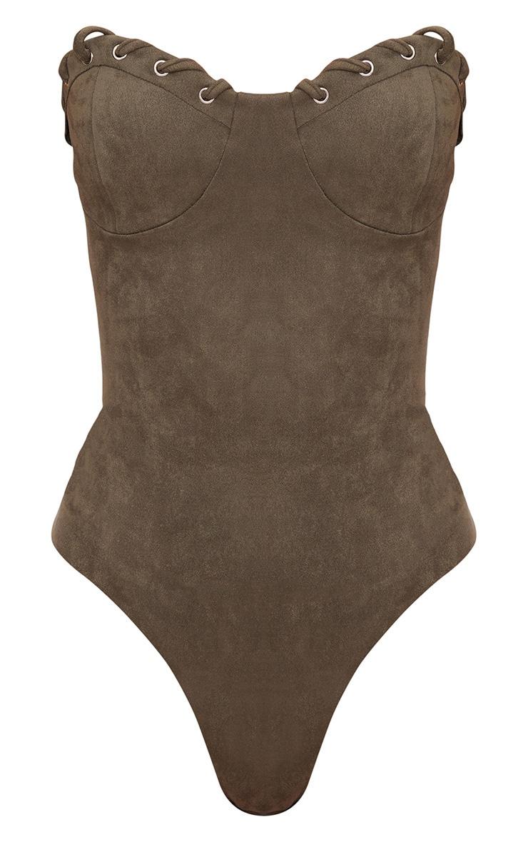 Khaki Faux Suede Bustier Thong Bodysuit  3