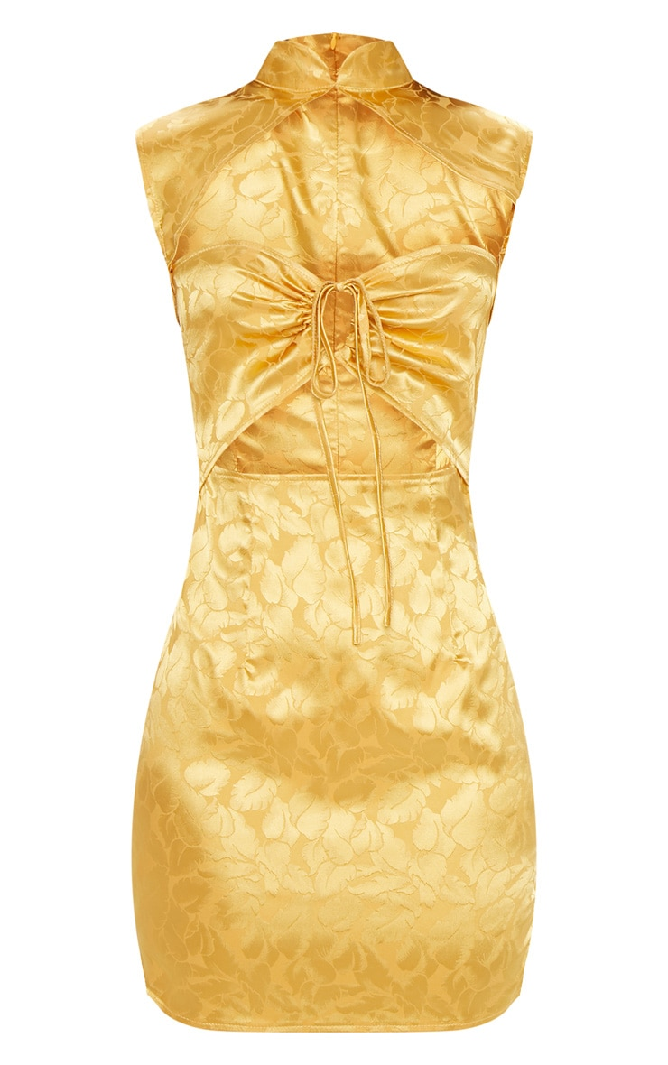 Mustard Floral Satin High Neck Cut Out Front Bodycon Dress 3