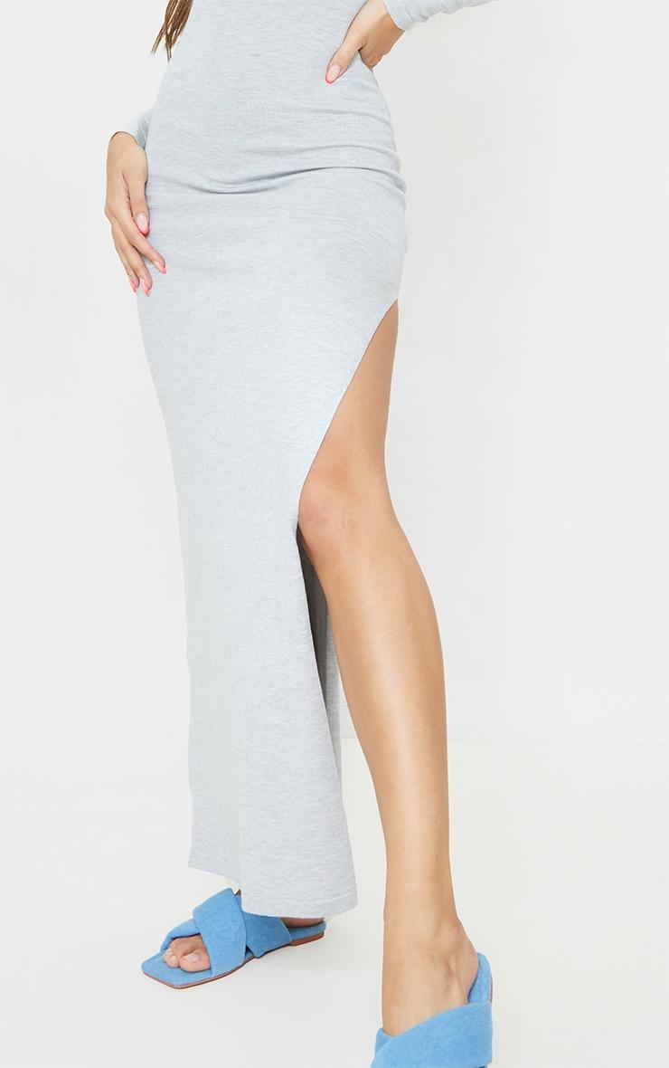 Grey Collar Detail Maxi Side Split Knitted Dress 4