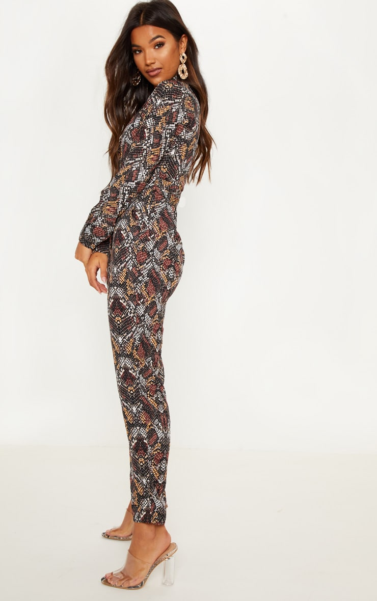 Chocolate Snake Print Jumpsuit 4