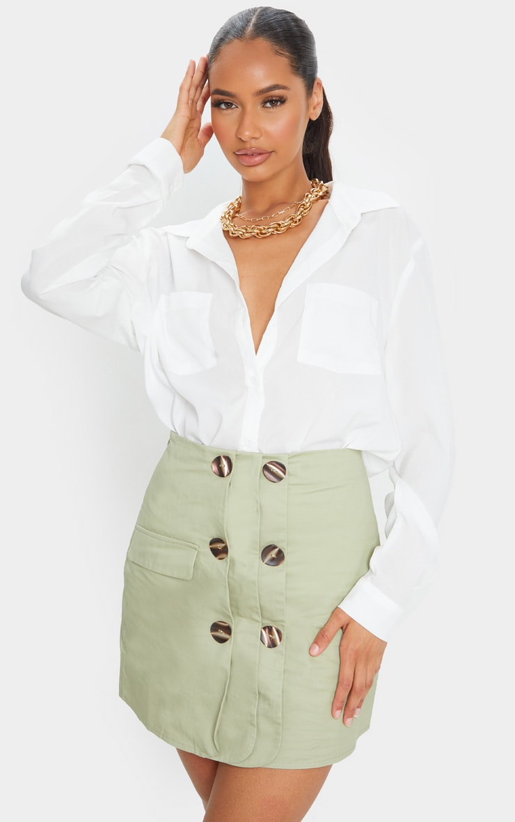 Sage Green Button Detail Cargo Mini Skirt 1