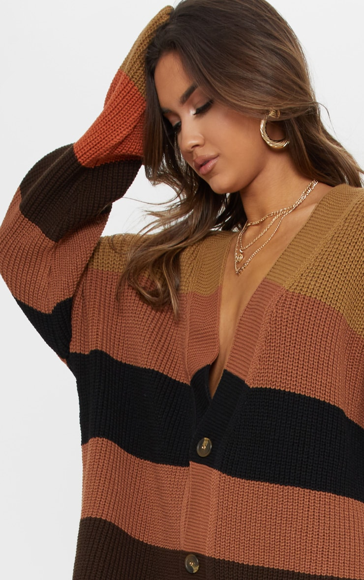 Rust Striped Knitted Cardigan 5
