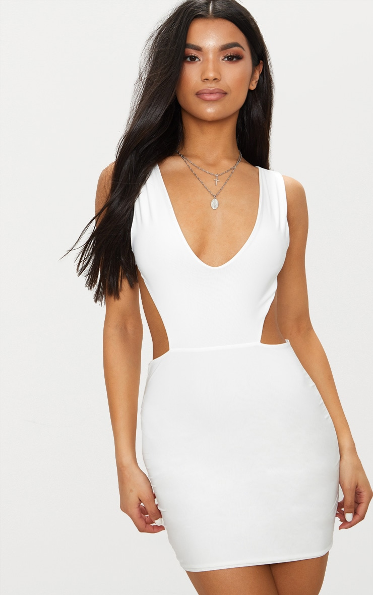 White Double Layer Slinky Cut Out Side Bodycon Dress 1