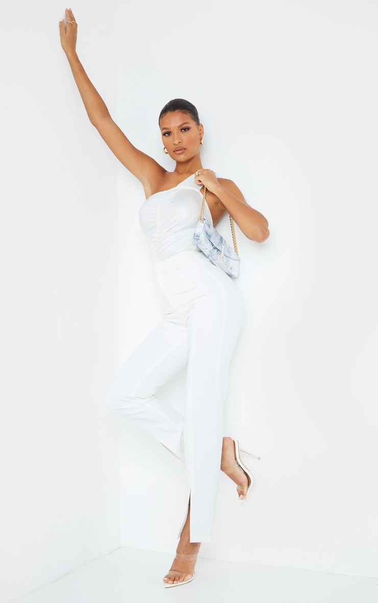 White Wet Look One Shoulder Ruched Bodysuit 3