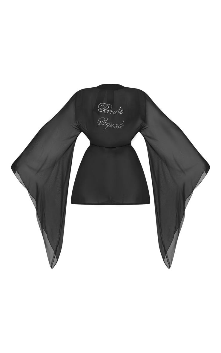 Plus Bride Squad Black Diamante Chiffon Kimono 3