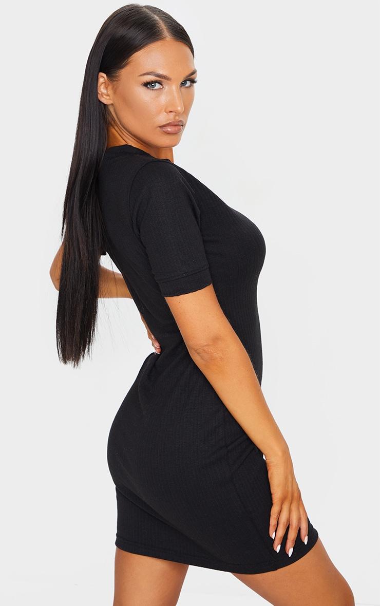 Black Thick Rib Popper Frill Edge Bodycon Dress 2