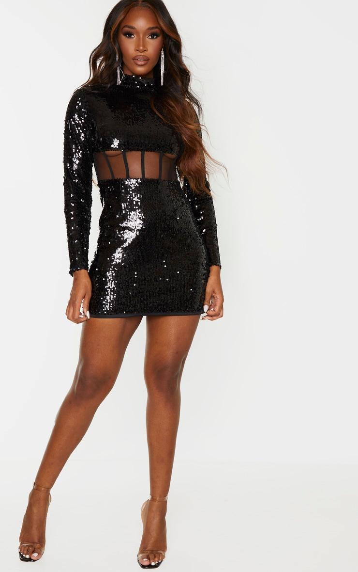 Black Sequin Long Sleeve Corset Detail Waist Bodycon Dress 4