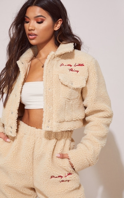 PRETTYLITTLETHING Cream Borg Embroidered Crop Jacket