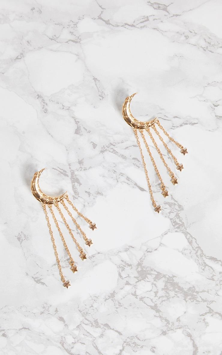 Gold Moon Star Tassel Earrings 3