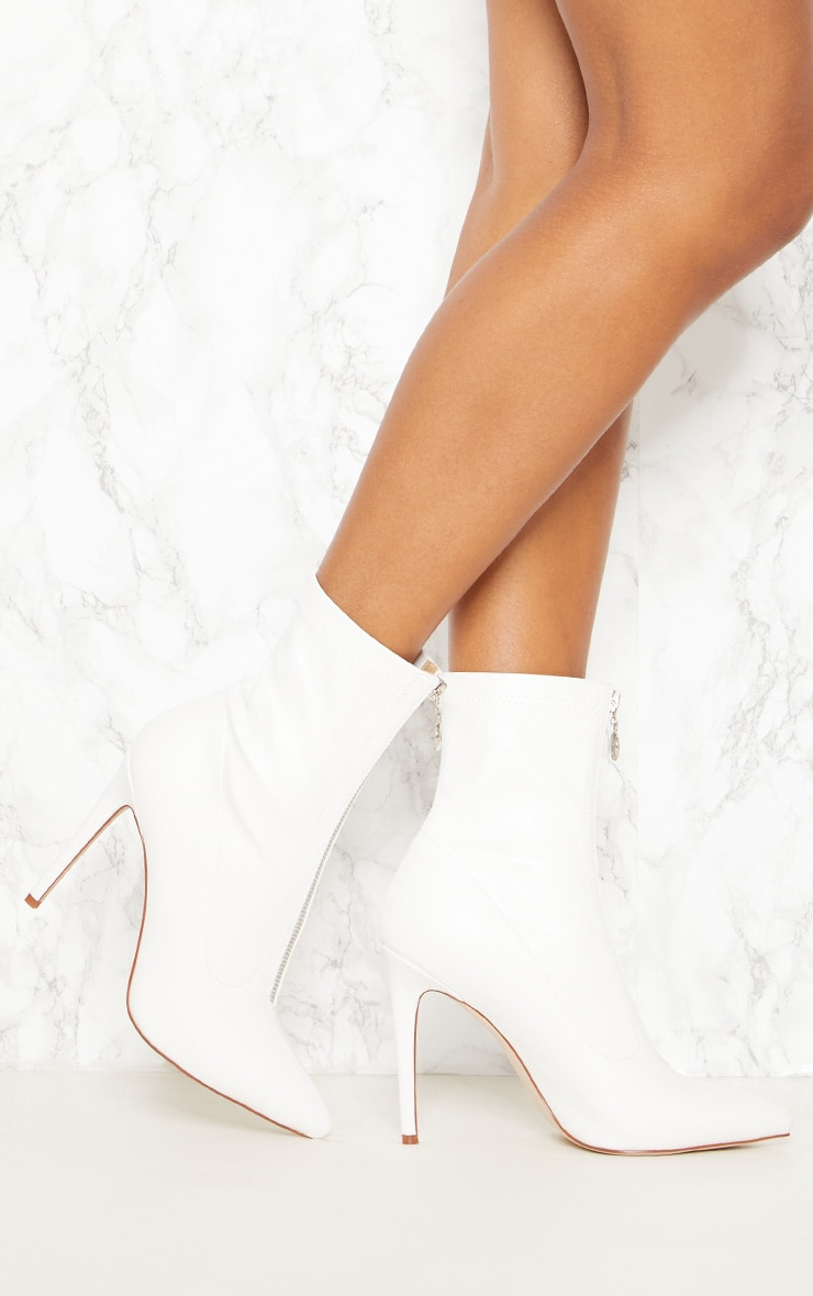 White Faux Leather Zip Front Sock Boot