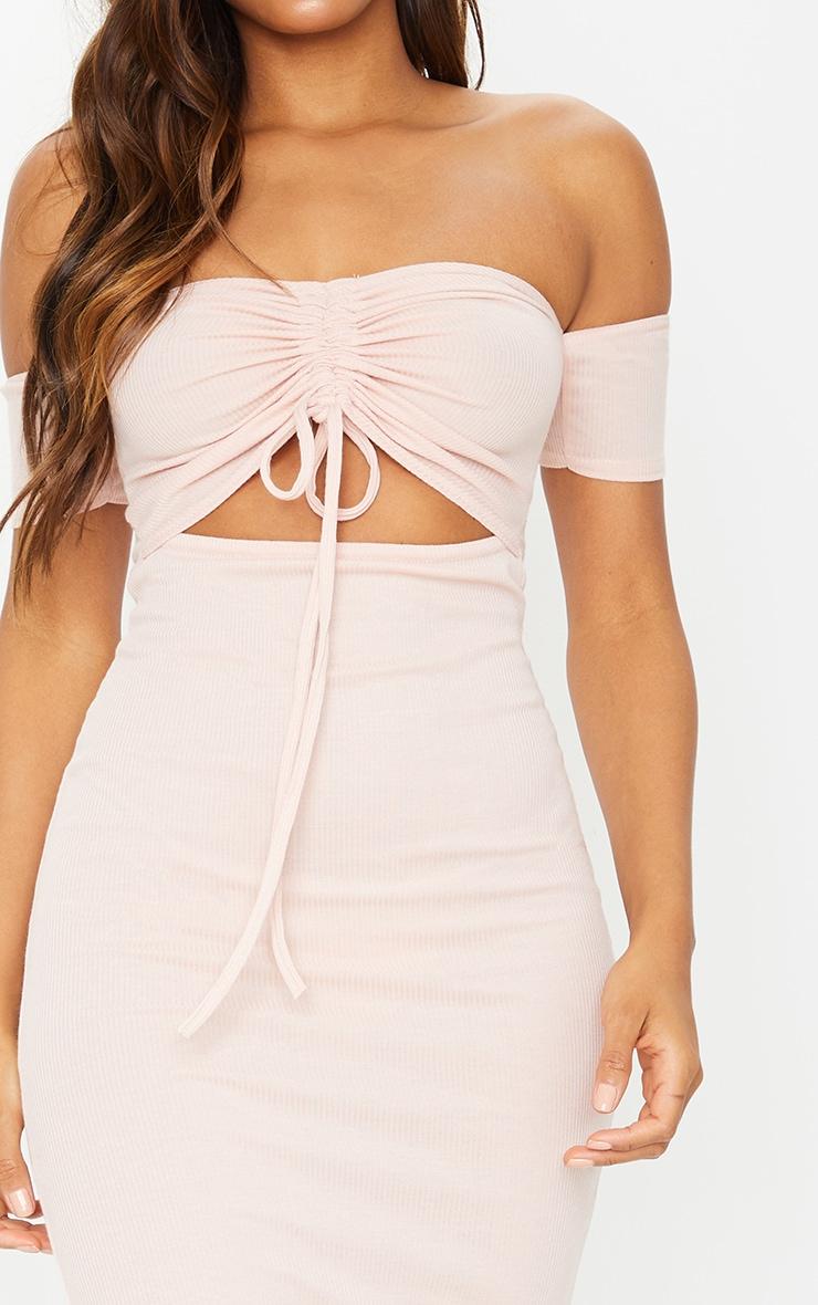 Nude Ribbed Bardot Ruched Cut Out Midi Dress 4