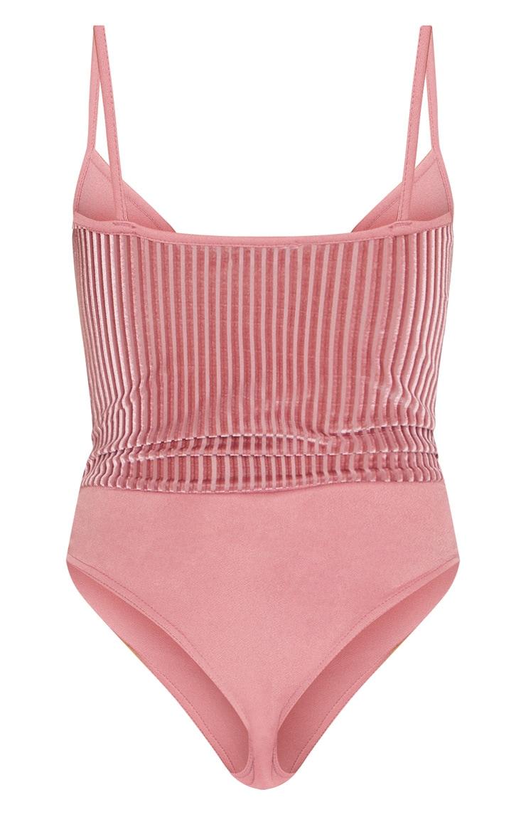 Pink Velvet Rib Bust Detail Bodysuit 4