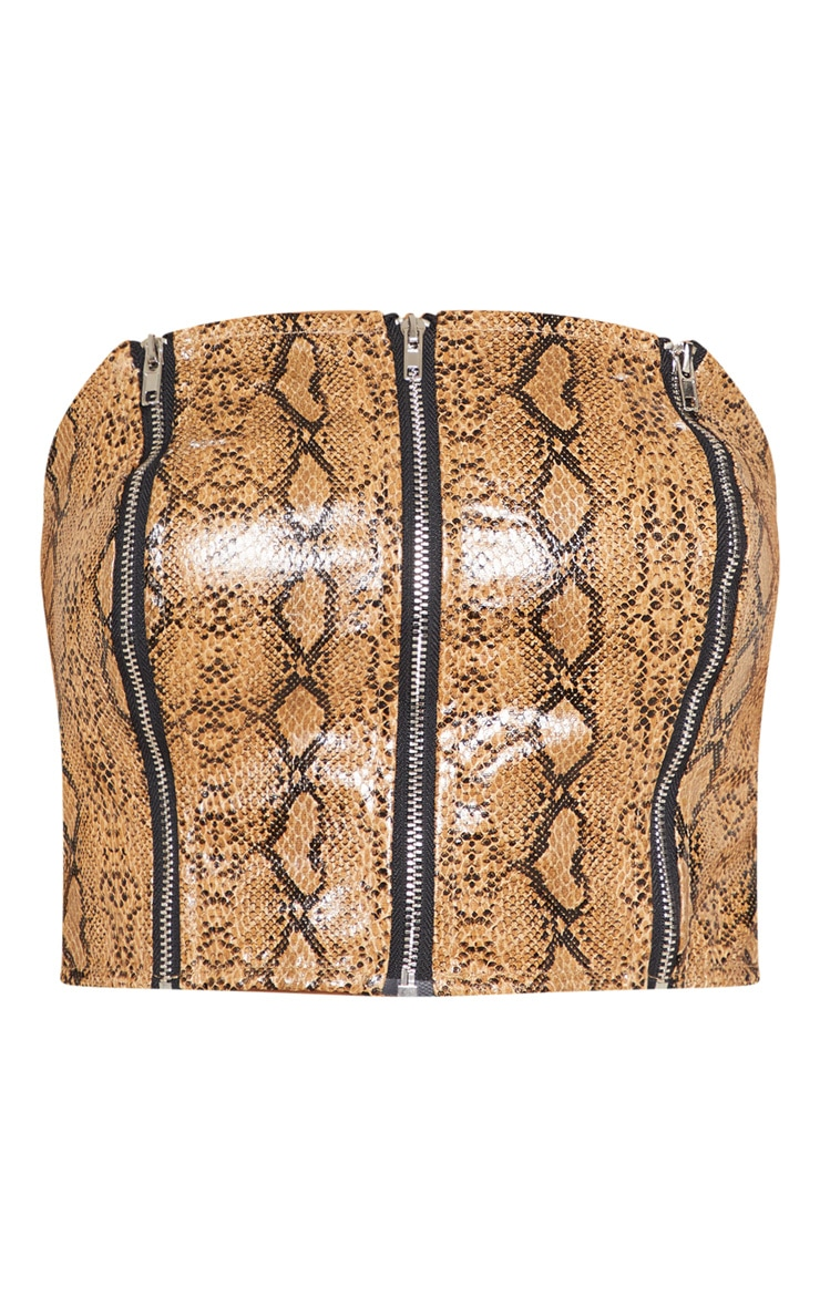 Camel Faux Leather Snake Print Zip Up Bandeau Crop Top 3