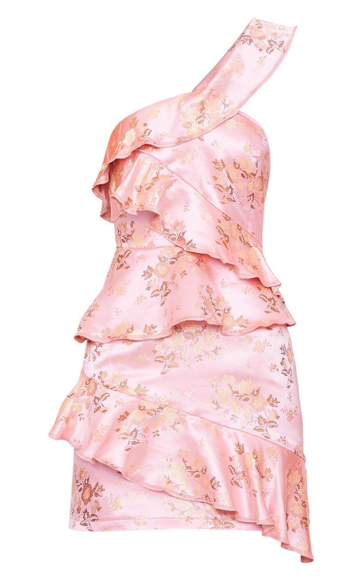 Pink Oriental Satin Print One Shoulder Frill Bardot Bodycon Dress 3