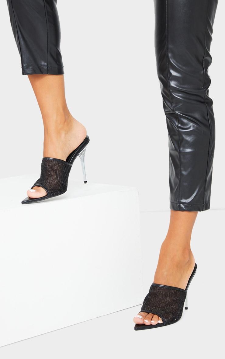 Black Mesh Front Mule Pin High Heels 2