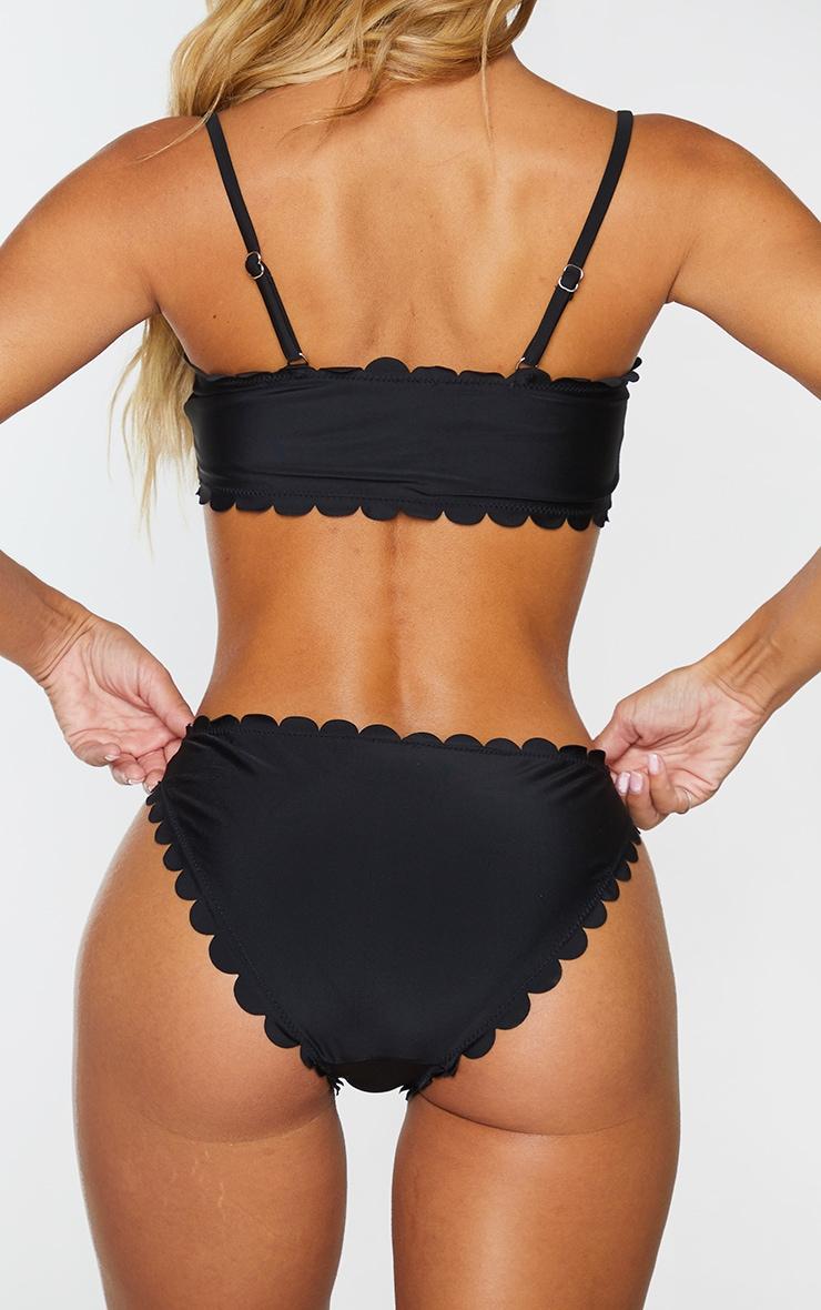 Black Scallop High Leg Bikini Bottom 3
