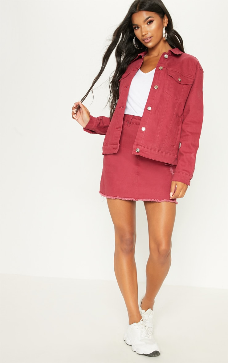 Burgundy Distressed Boyfriend Fit Denim Jacket 4
