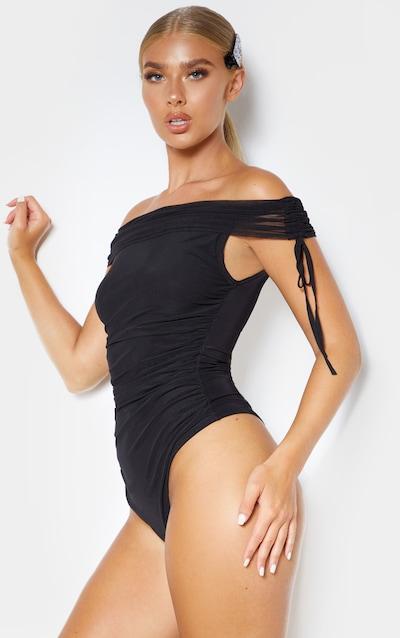 Black Sheer Ruched Mesh Bardot Bodysuit