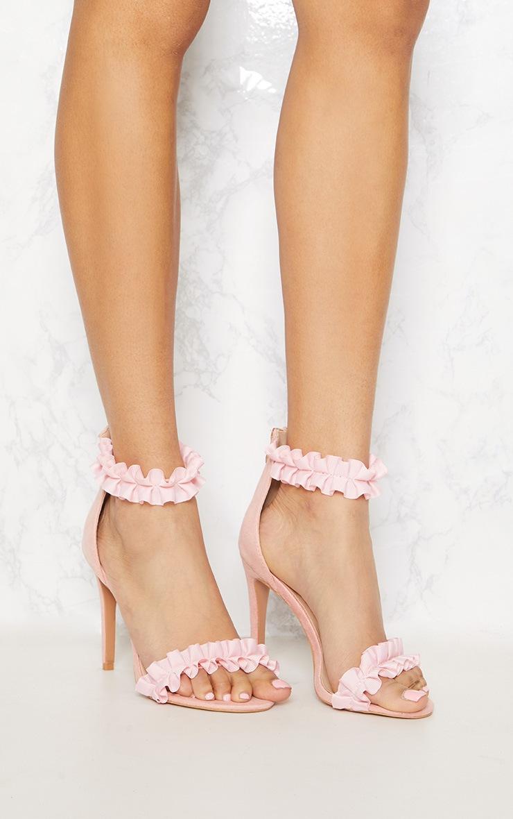 Blush Ruffle Strappy Heeled Sandal 5
