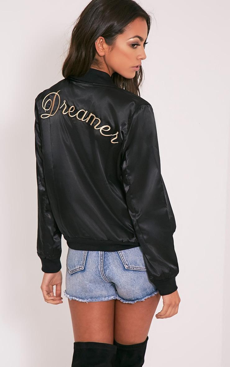 Finnie Black Satin Dreamer Bomber Jacket 1