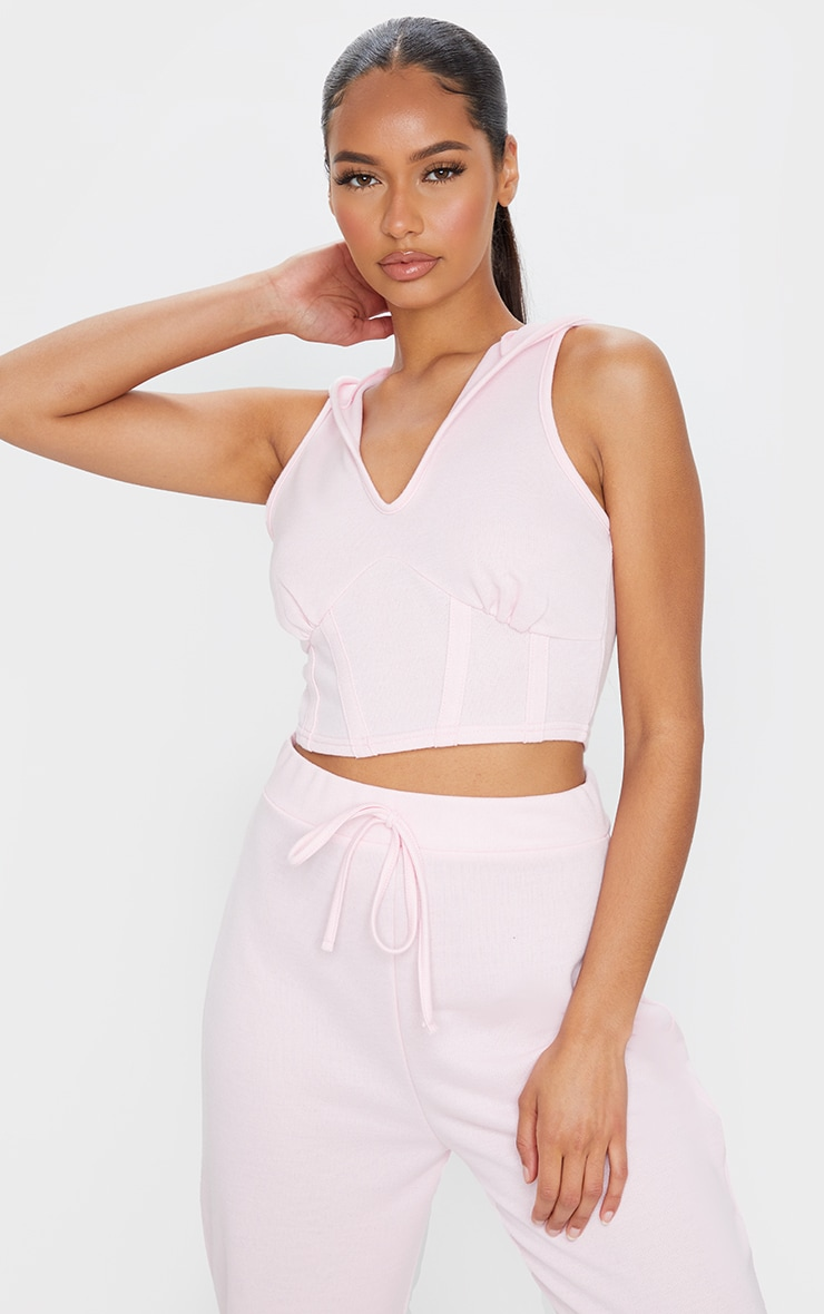 Light Pink Corset Detail Sleeveless Hoodie 1