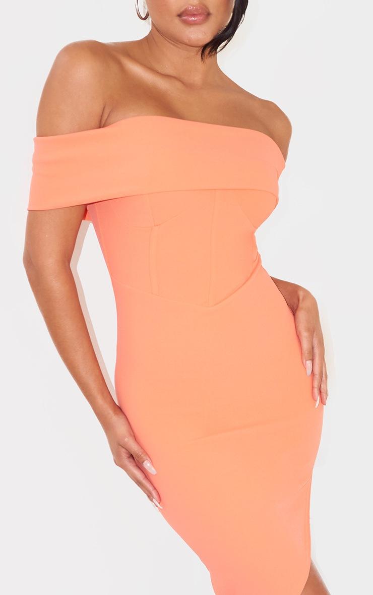 Coral Bardot Corset Detail Asymmetric Hem Bodycon Dress 4