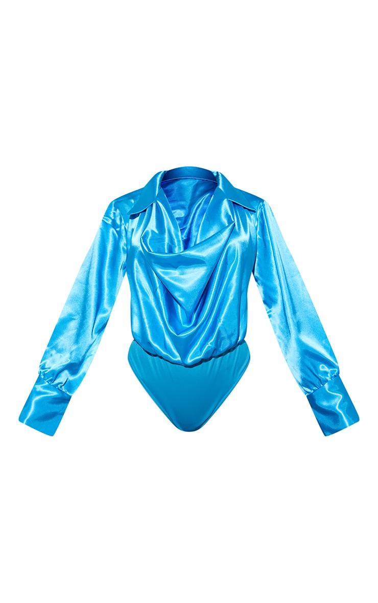 Aqua Blue Satin Cowl Neck Long Sleeve Bodysuit 5