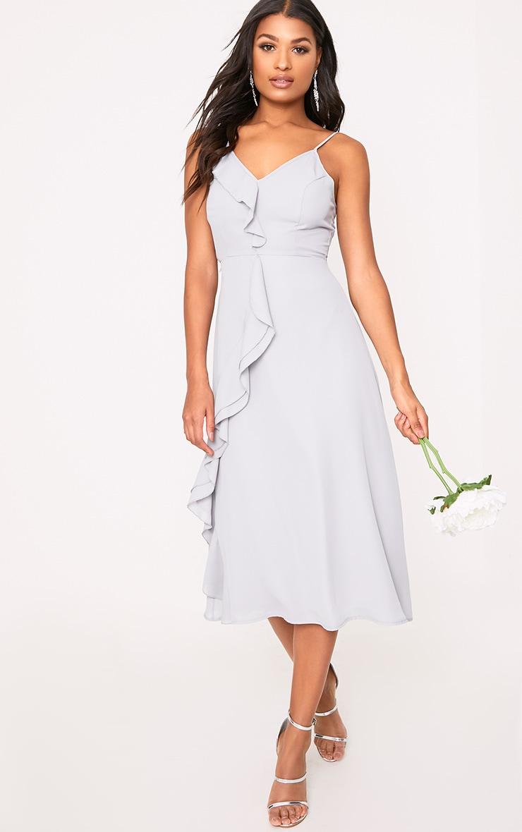 Dallia Ice Grey Ruffle Detail Midi Dress 1